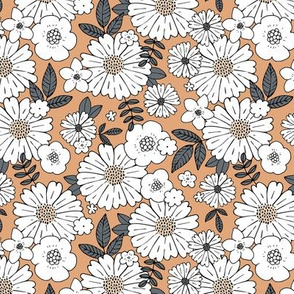 Scandinavian vintage style daisy flower garden boho botanical autumn winter christmas leaves and blossom neutral nursery beige caramel brown vintage SMALL