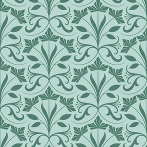 Abstract floral,  green and mint