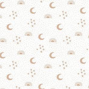 Boho universe sun moon and stars lunar magic summer spots Scandinavian style nursery beige
