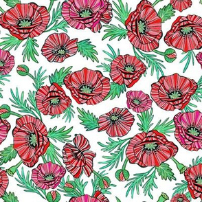 RED poppy floral