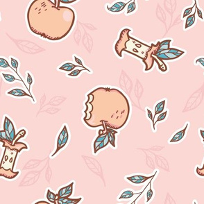 Sweet Apples in Soft Pinks seamless pattern background.