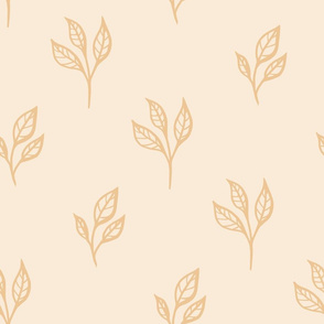 Apple Leaves in Shades of Champagne seamless pattern background.