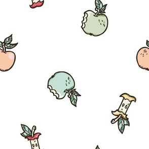 Colorful Sweet Apples on White seamless pattern background.
