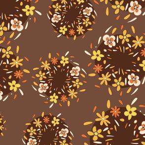 Brown retro flowers