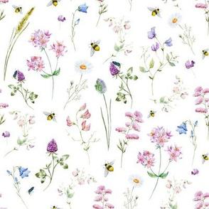 Wildflower Bees in Meadow