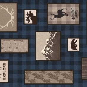 Woodland Collage on Plaid - Blue - rotated