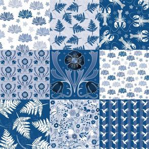 Cheater Quilt Blue Botanic