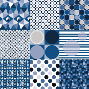Cheater Quilt Blue Geometric