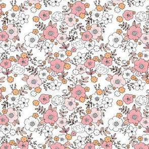 Vintage english rose garden liberty flowers and leaves boho blossom print nursery seventies retro pink peach white SMALL