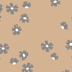 Boho buttercup retro flower garden minimal daisy flowers scandinavian trend style nursery design beige cinnamon gray