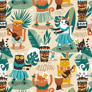 Small scale // Secret Hawaiian beach party  // ivory sand background greige shadows gold drop orange goldenrod yellow dark oak brown and white cats jade and pine green tropical vegetation peacock blue summery details