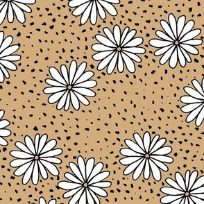Sweet summer daises and spots boho garden seventies vintage style ochre cinnamon