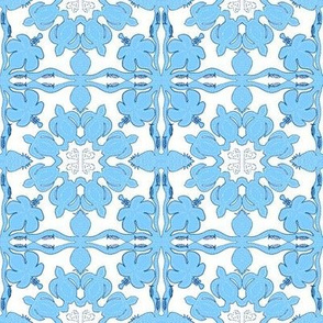 Hawaiian Quilt Blue, Sea Turtles & Hibiscus