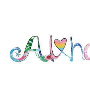 aloha  in watercolor // rainbow love heart, palms, flamingo, hibiscus, starfish and ice cream