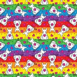 Rainbow cute rats & hearts -small