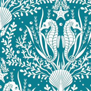 Seahorse Damask White and Teal