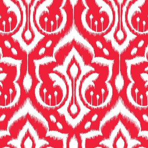 Ikat Damask - Holly Berry Red