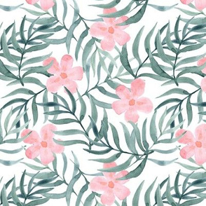 Palm Fronds with Pink Flowers