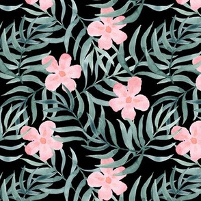 Palm Fronds with Pink Flowers on Black
