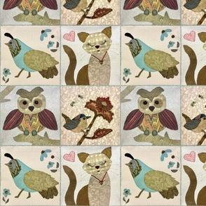 Patchwork quail, owl, cat and bird