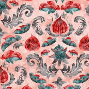 Fig Batik Damask- Red Teal Grey on Rose Quartz- Large Scale