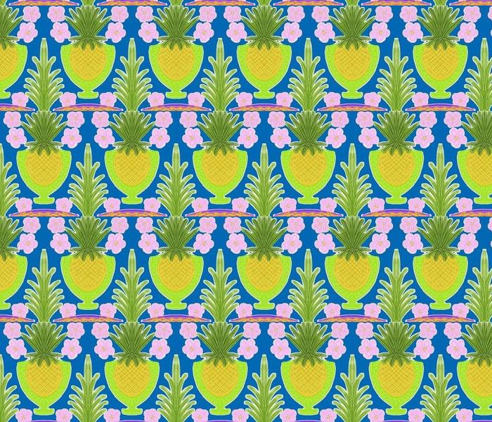 Pineapple Goblets on Ocean Blue