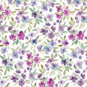 Purple, Plum and Magenta Watercolor Blossoms micro print