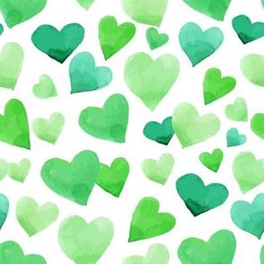 Watercolor Green Hearts