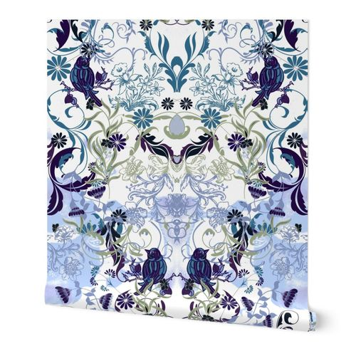 Birds and flowers damask