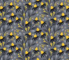 Daisies and Bumblebees Yellow and Grey