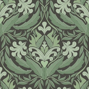 Damask leaf pattern green and chocolate br