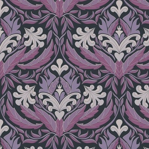 Damask leaf pattern blue, grey and purple