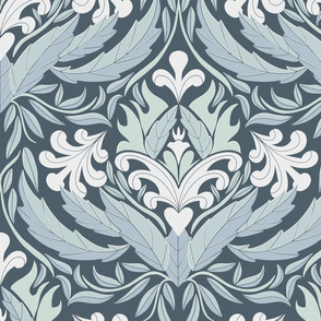Damask leaf pattern blue