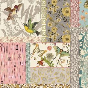 patchwork bird n butterfly garden lg4 with texture