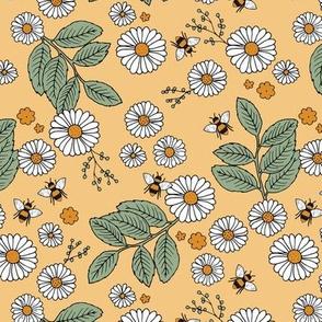 Daisy Blossom and Flower garden bees summer design botanical boho nursery nature love honey yellow green white