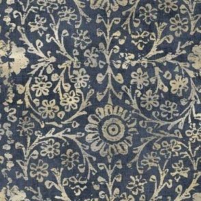 Indian Woodblock in Gold and Storm Gray (xl scale)   Vintage gold print on faded dark gray linen texture, rustic block print, hand printed pattern in gray and gold.