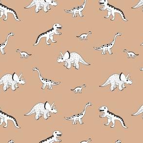 Sweet minimalist style wild boho dinosaurs hand drawn kids dino illustration neutral nursery beige brown latte