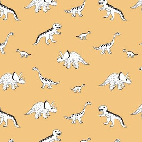 Sweet minimalist style wild boho dinosaurs hand drawn kids dino illustration neutral nursery honey yellow