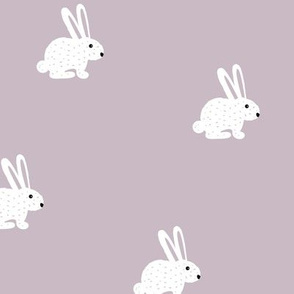 Sweet little boho bunny illustration adorable white baby rabbit mauve purple