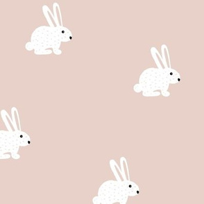 Sweet little boho bunny illustration adorable white baby rabbit beige sand