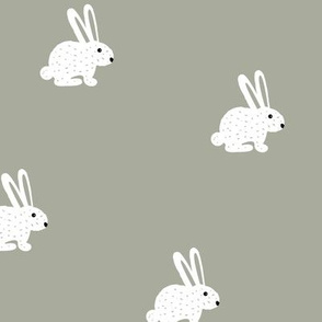 Sweet little boho bunny illustration adorable white baby rabbit eucalyptus green