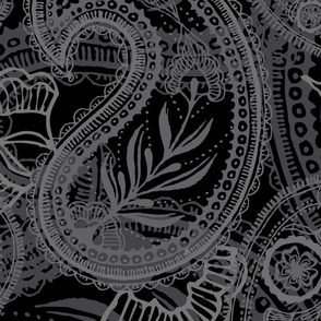 "Large Scale Paisley - Black on Black (24"")"