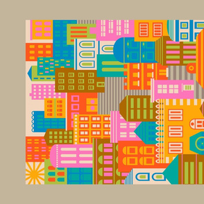 Vintage Travel Geometric City Landscape by Day in Bright Colours - UnBlink Studio by Jackie Tahara
