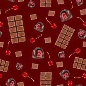 chocolate covered cherries - burgundy