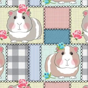 large cottagecore patchwork guinea pigs