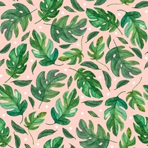 Monstera Leaves- Pink