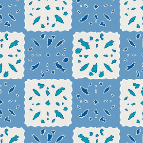 paper cut patchwork skydiver blue & ultimate gray