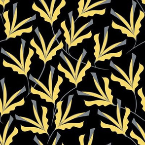 Art Deco Flowers .Yellow _ Gray