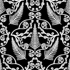 Fern damask on black