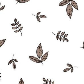 Leaves & petals delicate boho botanical garden  white brown neutral